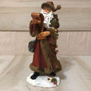Ceramic Santa Clause With Faux Fur